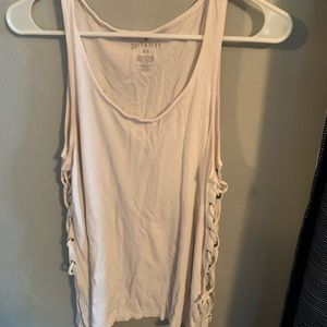 White soft and sexy ribbed tank top with lace side